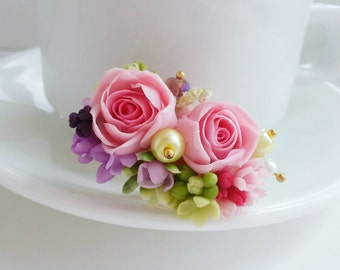 """Rosa flower Ring ,Ring """"rose"""" cold porcelain, flower ring,purple flowers,jewelry flowers,polymer clay flowers,sympathy ring,Rose Flower Ring"""