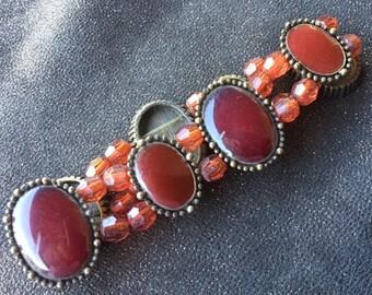 Vintage stretch bracelet with faceted beads and gemstone, vintage bracelet
