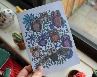 Owl Greetings Cards // Illustrated Owls Card // Hand Drawn Original Design // Bird Lovers // Floral Design // A5 Envelope Included