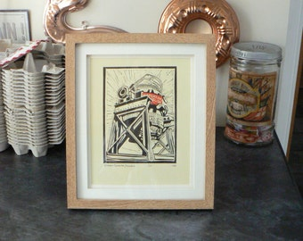 Bessemer Converter, Henderson's Relish Limited Edition Linocut Print, Sheffield Steel Making History, Industry, Hand made, Lino Cut Print