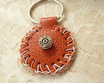 Orange Bonded Leather Key Ring Fob