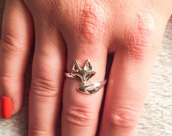 Silver Plated Adjustable Fox Ring, Foxy, Pet Lovers, Foxes Ring