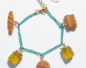 HONEY HONEY BAKERY Bracelet - Bread, food, kawaii, sweet lolita, decora, green, cute