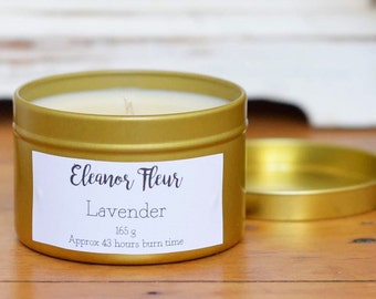 Lavender Scented 165 Grams Natural Soy Wax Candle in Gold Tin