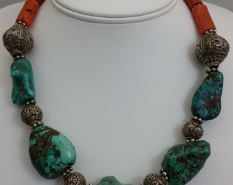 Handmade Mediterranean Coral & Tibetan Turquoise Stone and Silver Bead Necklace Antique