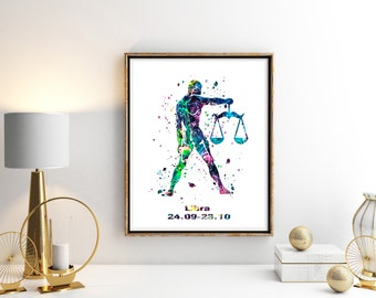 Libra 2 Watercolor  Astrology Art, Print, Libra  Sign , Libra Zodiac, Libra Wall Art,  Libra Poster, Gifts for  Libra