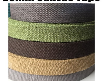 25mm Canvas Tape 3mm Thickness Heavy Duty Cotton. (1 / 5 Meters) Webbing, Straps, Belts, Decoration, Craft, Bunting, Sewing, Trim Edge.