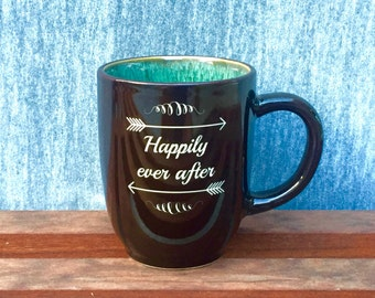 Lovely Happily Ever After Coffee Mug with Arrows, Professionally Sand Carved from the Heart