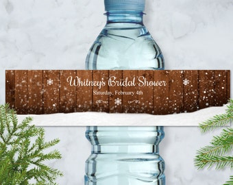 """Printable Rustic Winter Snowflake Water Bottle Labels, Bridal Wedding Shower; Personalized 8"""" x 2"""" Labels - Editable PDF, Instant Download"""
