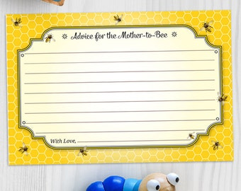 Printable Honeybee Baby Shower Advice Card - Yellow, Instant Download JPG