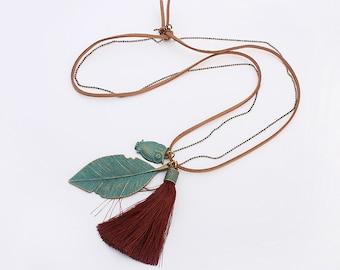Owl & Leaf necklace