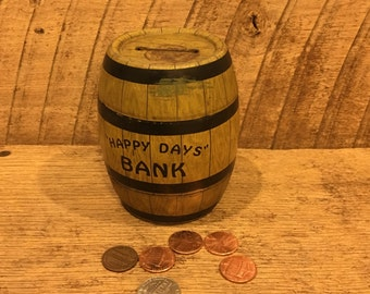 Vintage happy days bank, vintage metal bank,j. Chein & co., piggy bank, coin bank, money bank, barrel bank