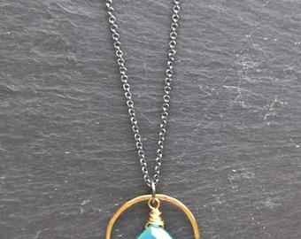 Aqua chalcedony pendant necklace, oxidised silver necklace blue chalcedony gemstone pendant, hammered gold gemstone necklace, surf jewellery