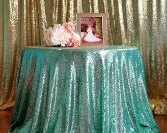Sparkly Mint Sequin Tablecloth, Mint Green Sequin tablecloth,