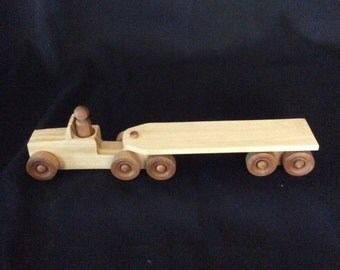 Semi, truck and trailer, wooden truck, wooden toys, handmade toys, handmade toy semi