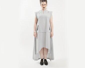29% OFF SALE, Black and white dress, black and white striped dress, asymmetrical dress, high low dress, cotton dress, summer dress women