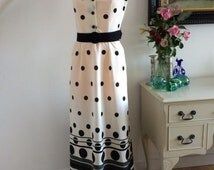 Cool Couture 1960s Dress Black and White Abstract Dagger Collar Broad Belt Carnaby Street Stunning Unworn