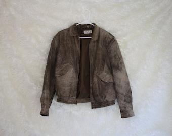 vintage 1980s distressed leather jacket