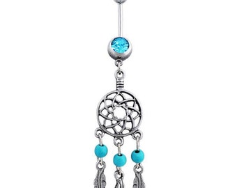 Dream Catcher Belly Ring Rhinestone Feather Dangle Navel Piercing Barbell 14g 1.6mm Stainless Steel