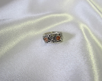Item 154- Handcrafted, sculpted, carved  999 Fine 925 Sterling Silver Ring Champagne Checkerboard Orange CZ Leaves & Flowers Ring Size 7