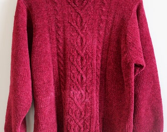 Red Vintage Polo Neck Ladies Knitted Jumper