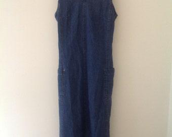 Denim dress, pinafore dress, Vintage dress, blue denim pinafore dress, long cotton ladies dress, jean dress, summer dress, 90's, UK 6-8, XS