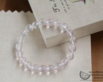 Natural Rose Quartz 9mm Beads Bracelet Stretch Elastic