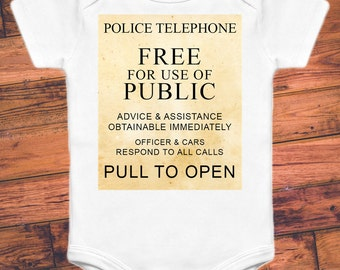 Doctor Who Baby Onesie - Police Box Sign