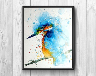 Bird drawn in watercolor.Con few essential and precise brushstrokes builds a painting