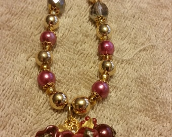 Handcrafted Pink Necklace and Earrings