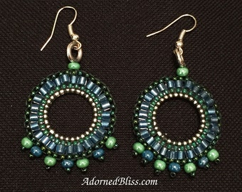 Blue Green Beaded Hoop Earrings / Jewelry / Women's Gift Ideas / Seed Beads / Beaded Earring / Brick Stitch Earrings / Sterling Silver