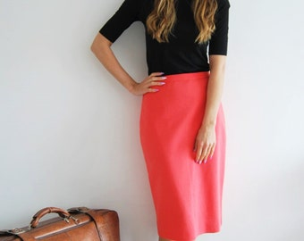 Vintage 80s Coral High Waisted Pencil Skirt - UK 12
