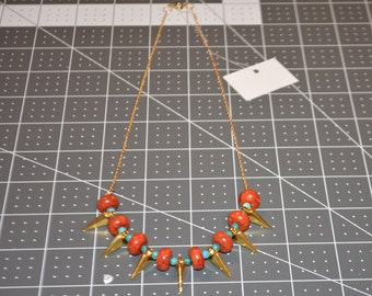 Coral and Turquoise Spiked Necklace