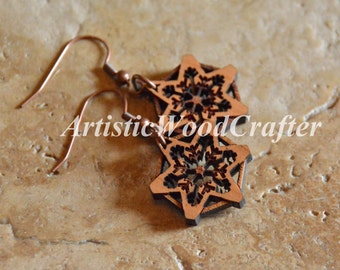 Wooden Snowflake Earrings See-Through Design (Birch)
