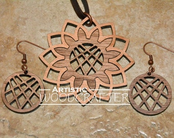 Wooden Flower Necklace and Earring set (Walnut/Cherry)