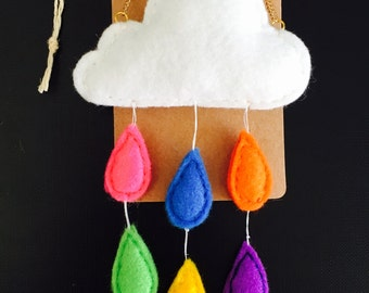 Rainbow Raindrops Necklace