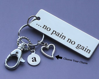 Personalized Fitness Key Chain No Pain No Gain Stainless Steel Customized with Your Charm & Initial -K318