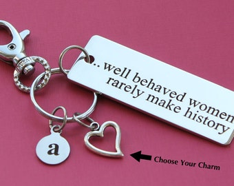 Personalized Key Chain Well Behaved Women Rarely Make History Stainless Steel Customized with Your Charm & Initial -K407