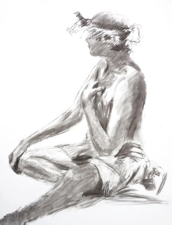 original female figure drawing charcoal 18x24