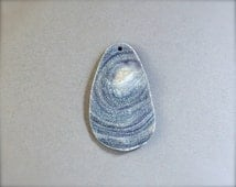 Natural chalcedony cabochon focal bead. Grey sparkly desert rose druzy drilled cabochon. Conch shell druzy.