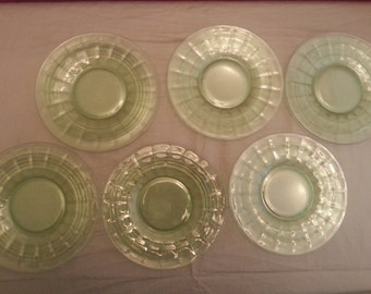 Vintage Green Depression Glass Dessert or Salad Plates
