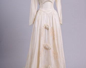 1940 Champagne Taffeta Vintage Wedding Gown