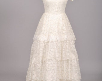 1950 Pearl Lace Vintage Wedding Gown