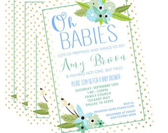 Twin Baby Shower Invitation, Twin Invitation, Baby Shower for Twins Invitation, Twin Gender Neutral Invitation, Twin Baby Shower, Twins
