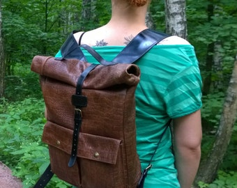 Leather backpack,Rolltop backpack, Urban backpack, Cycling backpack, Bike bag, City bagpack, Backpack, Brown leather backpack