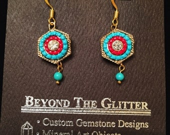 Vintage Glass Bead-work Earrings with Turquoise Drop