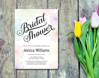 Bridal Shower Invitation, Template, Flowers, Spring Flower Invite, Summer, Colorful, Editable PDF, DIY, Printable, Instant Download E78A