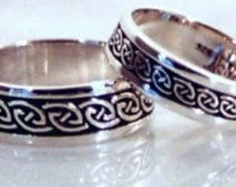 Na Mara (Gaelic: 'The Sea') sterling SILVER Celtic ring, Celtic band