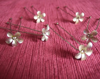 Silver Crystal Flower Hair Pins Set of 6. Hair Accessories for Bridal hair, Bridesmaids, Ballet Hair Pins, Up Do Decorative Hair Pin
