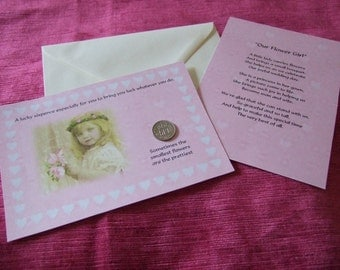 Girls Wedding Flower Girl Gift, Flower Girl Thank You Present, Thank You Gift Lucky Sixpence and Poem. Flower Girl Keepsake Gift. Pink Gift